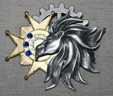 Steampunk brooch/pin- airship badge/ medal  w/ lion, cross, gear, blue crystals