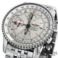 Men's Breitling Navitimer World GMT White Face Chronograph A24322 46mm Watch
