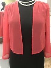Vera Mont Chiffon Sheer Coral Pinky Red Size 40 UK 14 Shrug Bolero Cover Up New