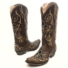Old gringo Evelyn Women's Cowboy Western Boots Sz 6B Brown Leather Paisley EUC