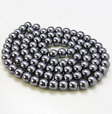 140 Glass Beads 6mm Faux Dark Grey Pearl Strand - BD372