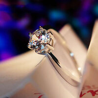 White Sapphire Wedding Claw Rings Lady 10KT White Gold Filled Size 5-12