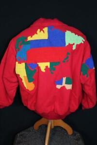 VERY RARE VINTAGE 1980'S JAPAN NARUMIYA RED WOOL WORLD JACKET SIZE LARGE