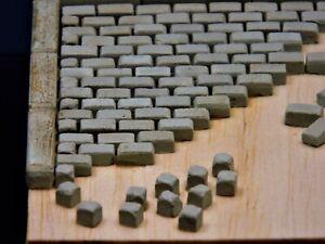 Halb-Steine, 350 Keramik Pflastersteine klein, granit grau 1:35