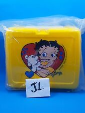 BETTY BOOP VINTAGE PLASTIC COLLECTIBLE YELLOW LUNCH BOX 1989 W/ THERMO.