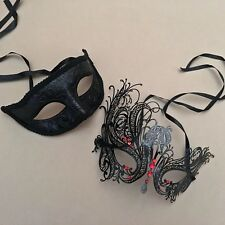 Men Women Couple Black Metal and Glitter Venetian Masquerade Ball Party Mask