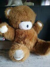Peluche doudou ours marron blanc 35 cm assis Boulgom vintage