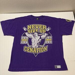 John Cena Never Give Up Cenation T Shirt WWE Wrestling Purple Men's s XL