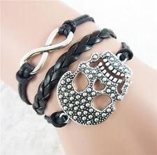 Skull Head Alloy Wrap DIY Infinity Leather Weaved Rope Bracelet Bangle Gift  Hot