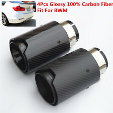 4Pcs Glossy Car 100% Carbon Fiber Exhaust End Tips for BMW 63mm In 89MM Out