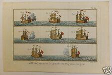 Marines bateaux boats 18me siècle