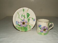 More details for susie cooper art deco 4 grays pottery purple floral coffee cup & saucer v rare