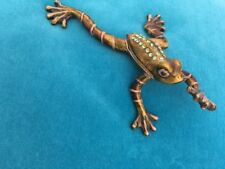 Frog Collectible Open Close With Magnet Green With Decorative Stones HTF Ribbit