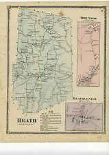 1871 Beers Map of Heath, w/inset maps Heath centre & Rowe centre, Beers original