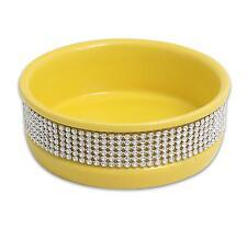 Cat Dog Pet Bowl 4.5' Yellow Cute Paws Diamond Stone Dish Food Ceramic Water