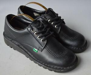 Ladies / Girls Kickers Black Leather Kick Lo Core Lace Up Shoes Size UK 6