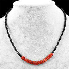 60.00 Cts Natural Faceted Black Spinel & Carnelian Beads Necklace NK 05E60