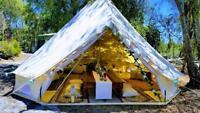 3/4/5/6/7M Canvas Tent Camping Bell Tent Outdoor Beach Safari Glamping Tent Yurt