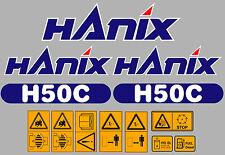 Hanix H50C Digger completa Decal Sticker Set con calcomanías de advertencia de seguridad