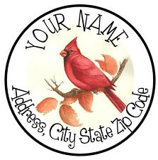 30 Square Stickers Envelope Seals Favor Tags Bird Cardinal Buy3 get1 free (car1)