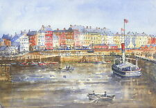 Bridlington Harbour, Hand Signed, Titled and Mounted Print with COA
