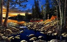 "Headwaters By Jim Hansel Signed and Numbered Lake Campfire Art Print  29"" x 19"""
