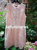 NEW M&S Limited Collection 60's Vintage Retro Style Peach Daisy Dress Size UK 8