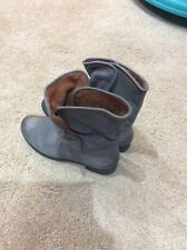 MICHAEL SHANNON CORBEL GRAY LEATHER SLOUCH ANKLE BOOTS Sz WOMENS 8M