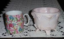 Lot of 2 Collectibles Floral Tea Cup With Footed Frosted Pink Glass Bowl - NICE!