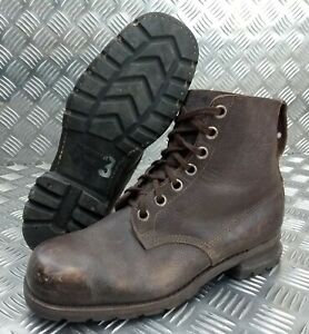 Genuine Vintage Leather WWII 1941 Brown 7 Hole Rubber Sole Boots Eur 43