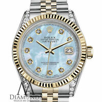 Ladies Rolex 36mm Datejust 2 Tone Baby Blue Mother Of Pearl Dial with Diamond