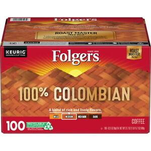 Folgers Colombian Medium Roast Coffee K-Cups 100 Ct GREAT VALUE & SERVICE!!