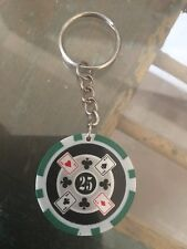 Las Vegas Casino Chip, Playing Cards Key Chain. Colorful