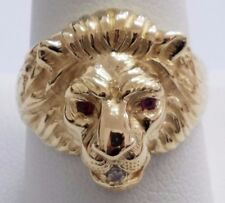 14 KARAT YELLOW GOLD LION HEAD RING WITH RUBY AND DIAMOND  , SIZE 10