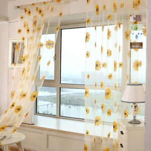 Sunflower Tulle Curtains Voile Kitchen Balcony Room Floral Window Curtain Decor