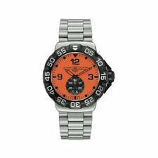 MINT TAG HEUER FORMULA 1 WAH1012.BA0854 GRANDE DATE STEEL QUARTZ ORANGE WATCH