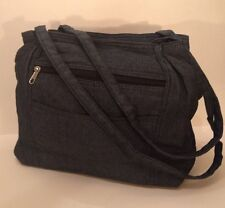Ladies Multi Pocket Handbag Blue Denim Color Double Handle Lightweight