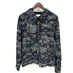LUCKY BRAND Vintage Asian Floral Print Full Zip Hooded Jacket Hoodie Large