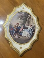 """Vintage Large Florentine Wall Plaque Made In Italy Victorian Scene 12"""" x 18"""""""