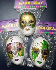 Lot of 3 Mardi Gras Purple Green Gold Mask Christmas Tree Ornaments Ornament New