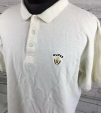 Vintage GUESS Polo Shirt Mesh Pique 90's Crest Spell Out Logo Men L Short Sleeve