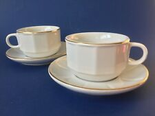 Whittard of Chelsea Classic White Gold Rimmed Cappuccino Cup & Saucers