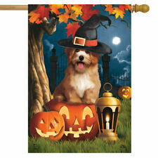 New listing #88 Halloween Dog Witch Hat Fall Autumn Pumpkins House Flag 28X40 Banner