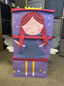 Girls Kids Children's Fairy Princess Stacking Fabric Storage Boxes Set Of 3