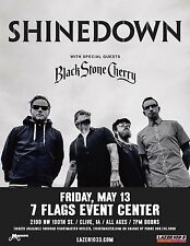 Shinedown/Black Stone Cherry 2016 Des Moines Concert Tour Poster-Hard Rock Music