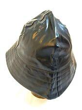 Antique Vintage 1930s Black Vinyl Deep Sea Fisherman Hat Waterproof Sailor Cap