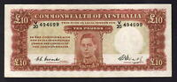 Australia R-60. (1949) Ten Pounds - Coombs/Watt.. George VI Portrait.  aEF