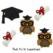GRADUATION DRESS IT UP NOVELTY CRAFT BUTTONS OWL SCROLL UNIVERSITY HAT HOBBY SEW