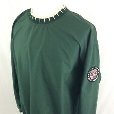 Vintage Greg Norman Golf Pullover Jacket XL Green Shark Tooth Collar Flag Patch