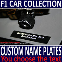 Formula 1 Car Collection CUSTOM Name Plate Decals - YOU WRITE YOUR OWN TEXT